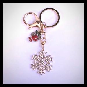 Crystal Snowflake Holiday Bells Keychain